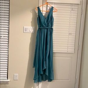 David's bridal bridesmaid teal dress